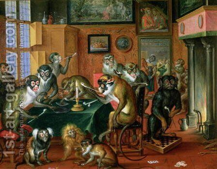 The Smoking Room with Monkeys by Abraham Teniers - Reproduction Oil Painting