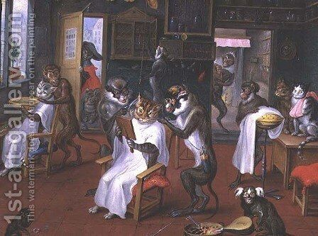 Barbers shop with Monkeys and Cats by Abraham Teniers - Reproduction Oil Painting