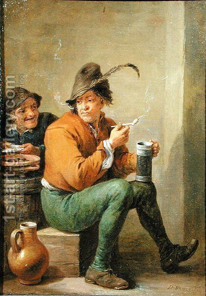 A Peasant holding a Stoneware Jug and a Clay Pipe by David III Teniers - Reproduction Oil Painting