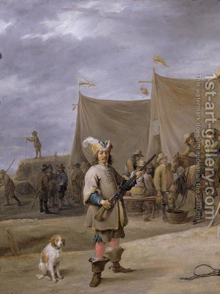 Soldier, 1640 by David The Elder Teniers - Reproduction Oil Painting