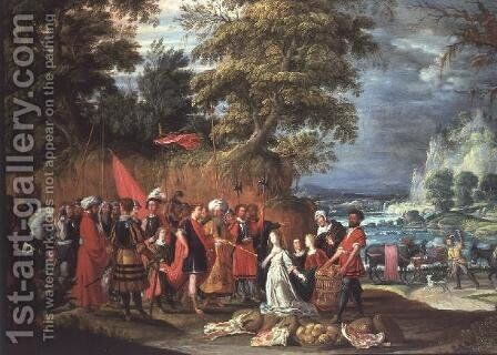 The Offering of Abigail by David The Elder Teniers - Reproduction Oil Painting