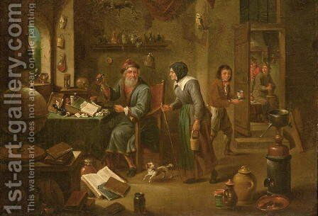 The Alchemists study by David The Elder Teniers - Reproduction Oil Painting