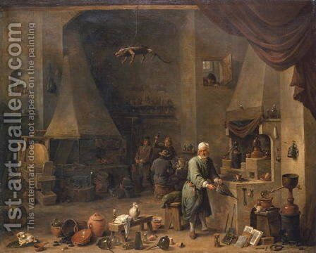 The Alchemist at Work by David The Elder Teniers - Reproduction Oil Painting