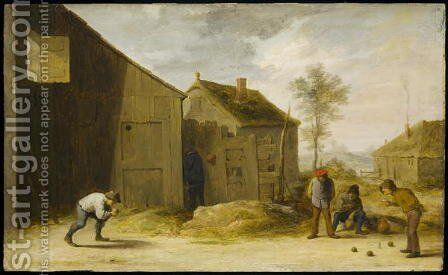 Peasants Playing Bowls by David The Younger Teniers - Reproduction Oil Painting