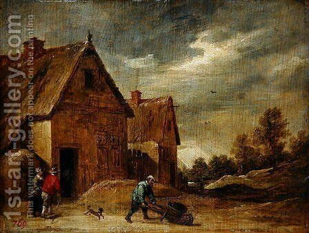 Farmer with Wheelbarrow by David The Younger Teniers - Reproduction Oil Painting