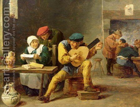Peasants Making Music in an Inn, c.1635 by David The Younger Teniers - Reproduction Oil Painting