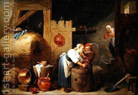 Interior scene with a young woman scrubbing pots while an old man makes advances, c.1644-45 by David The Younger Teniers - Reproduction Oil Painting
