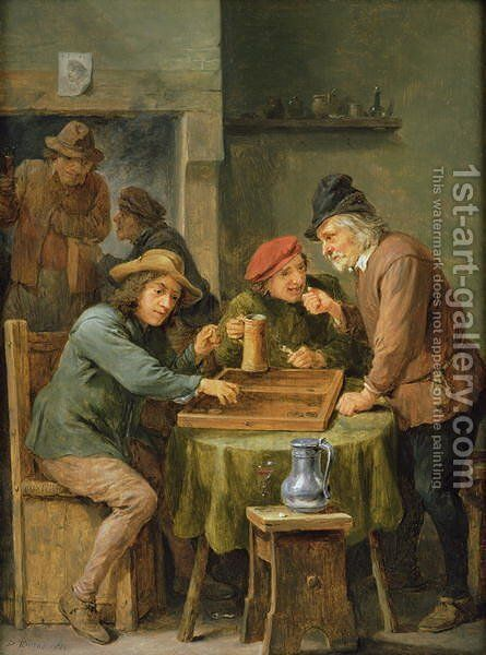The Game of Backgammon, 1670 by David The Younger Teniers - Reproduction Oil Painting
