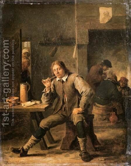 A Smoker Leaning on a Table, 1643 by David The Younger Teniers - Reproduction Oil Painting