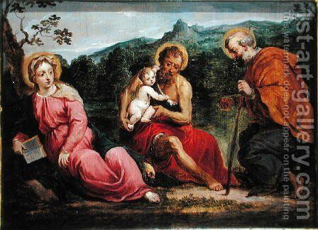 Holy Family and St.John the Baptist, after an original by Paris Bordone by David The Younger Teniers - Reproduction Oil Painting
