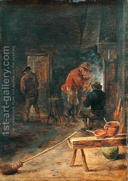 Farmers around a Fireplace by David The Younger Teniers - Reproduction Oil Painting