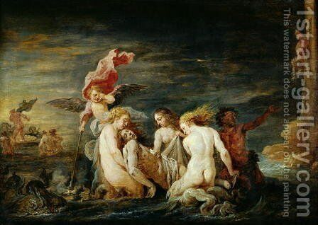 Hero and Leander- Leander Found by the Nereids, copy of a painting by Domenico Feti, 1650-56 by David The Younger Teniers - Reproduction Oil Painting