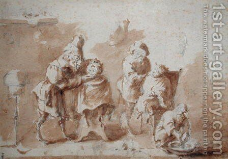 The Monkey Barbers, c.1660 by David The Younger Teniers - Reproduction Oil Painting