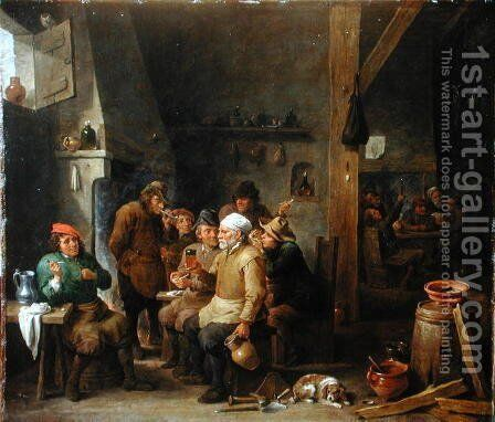 Interior of a tavern by David The Younger Teniers - Reproduction Oil Painting