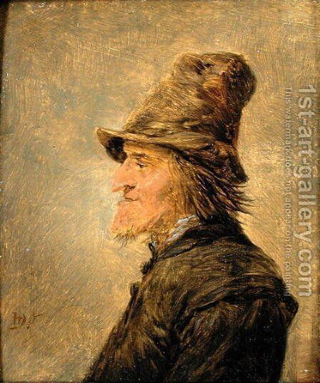 Portrait of man with a beard, in profile, wearing a straw hat by David The Younger Teniers - Reproduction Oil Painting