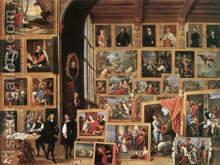The Picture Gallery of Archduke Leopold Wilhelm 1614-62 in Brussels by David The Younger Teniers - Reproduction Oil Painting