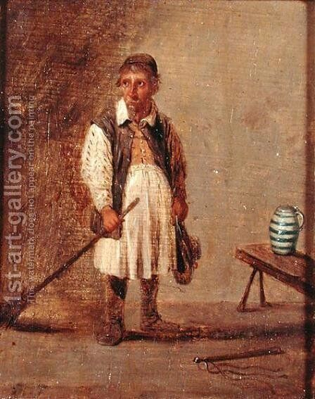 Domestic Worker Holding a Broom, c.1680 by David The Younger Teniers - Reproduction Oil Painting