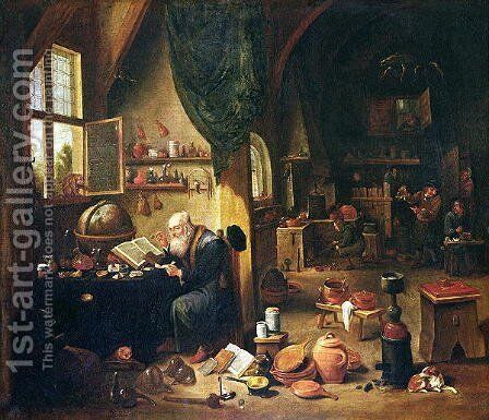 An Alchemist in his Workshop by David The Younger Teniers - Reproduction Oil Painting