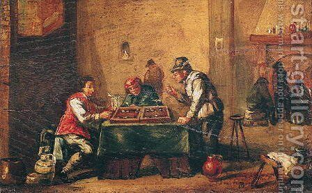 Men Playing Backgammon in a Tavern by David The Younger Teniers - Reproduction Oil Painting