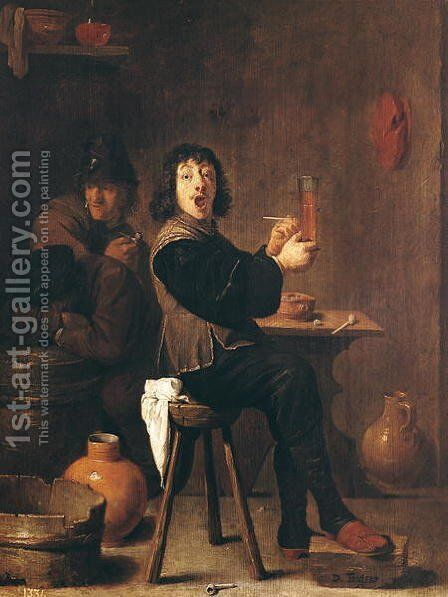 The Happy Soldier by David The Younger Teniers - Reproduction Oil Painting