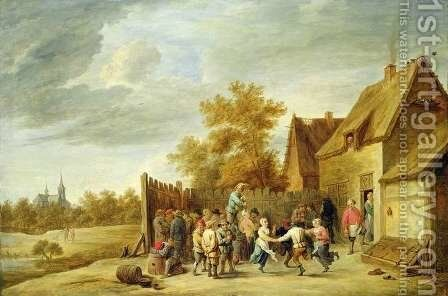 Peasants Dancing Outside an Inn by David The Younger Teniers - Reproduction Oil Painting