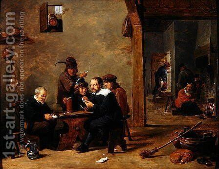 The Card Players by David The Younger Teniers - Reproduction Oil Painting