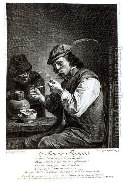 The Flemish Smoker, engraved by Francois Bernard Lepicie 1698-1755, 1744 by David The Younger Teniers - Reproduction Oil Painting