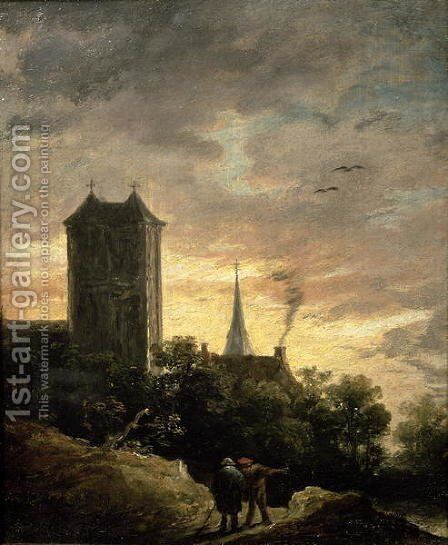 Landscape with a Tower by David The Younger Teniers - Reproduction Oil Painting