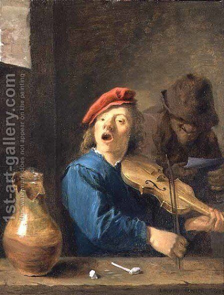 The Fiddler, 1633 by David The Younger Teniers - Reproduction Oil Painting