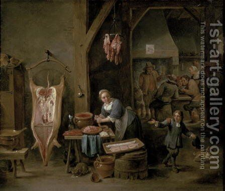 Sausage-making, 1651 by David The Younger Teniers - Reproduction Oil Painting