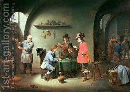 Gambling Scene at an Inn, late 1640s by David The Younger Teniers - Reproduction Oil Painting