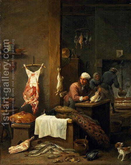 In the Kitchen, 1669 by David The Younger Teniers - Reproduction Oil Painting
