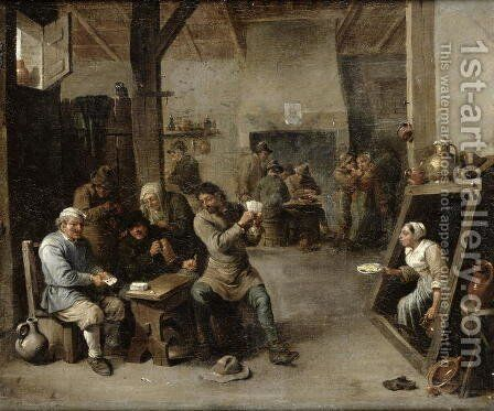 The Card Players 2 by David The Younger Teniers - Reproduction Oil Painting