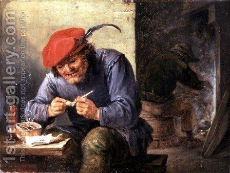Seated Peasant Filling a Pipe by David The Younger Teniers - Reproduction Oil Painting