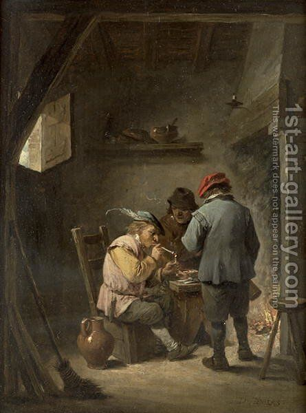 Peasants by an Inn Fire by David The Younger Teniers - Reproduction Oil Painting