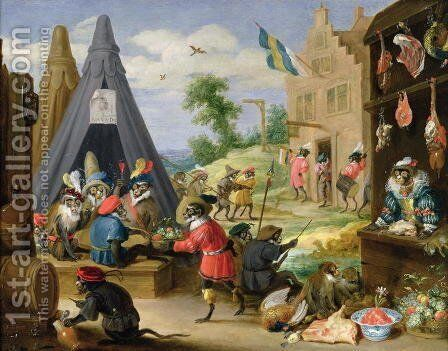 A Monkey Encampment by David The Younger Teniers - Reproduction Oil Painting