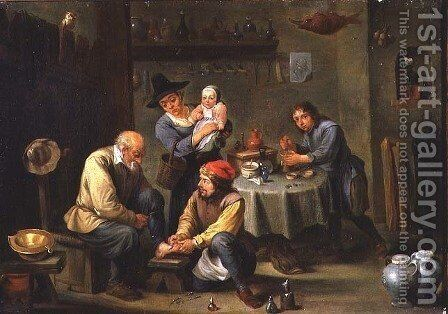 Surgeon Tending the Foot of an Old Man by David The Younger Teniers - Reproduction Oil Painting