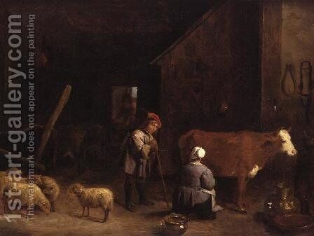 A Shepherd Boy talking to a milkmaid in a cowshed by David The Younger Teniers - Reproduction Oil Painting