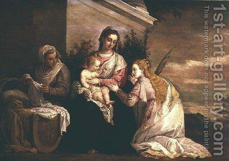 Virgin and Child with St. Catherine by David The Younger Teniers - Reproduction Oil Painting