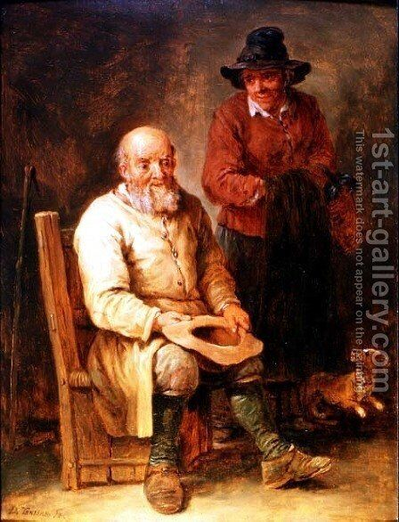 A man seated with a woman by his side and a dog at their feet by David The Younger Teniers - Reproduction Oil Painting