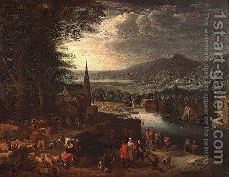 An extensive mountain landscape by David The Younger Teniers - Reproduction Oil Painting
