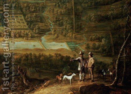 Landscape with sportsmen by David The Younger Teniers - Reproduction Oil Painting