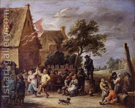 A Village Merrymaking by David The Younger Teniers - Reproduction Oil Painting
