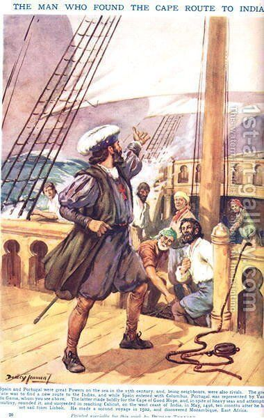 Vasco de Gama- The Man who found the Cape Route to India, illustration from Newnes Pictorial Book of Knowledge by Dudley C. Tennant - Reproduction Oil Painting