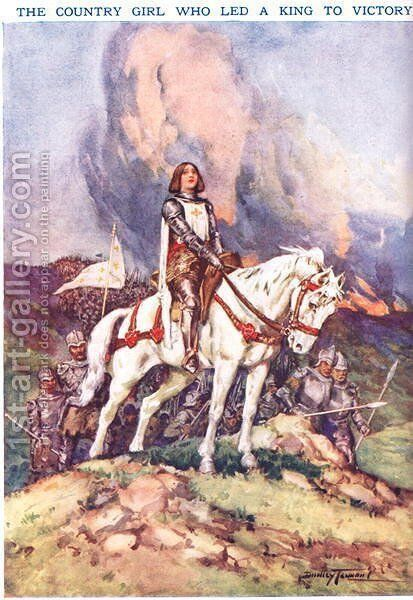 Joan Arc- The Country Girl who Led a King to Victory, illustration from Newnes Pictorial Book of Knowledge by Dudley C. Tennant - Reproduction Oil Painting