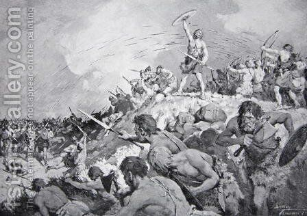 The Battle of Mons Badonicus, c.500 AD, illustration from The History of the Nation by Dudley C. Tennant - Reproduction Oil Painting