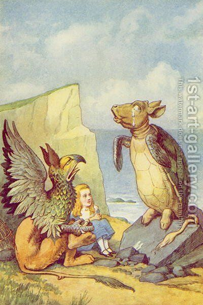 The Mock Turtle and the Gryphon, illustration from Alice in Wonderland by Lewis Carroll 1832-9 by John Tenniel - Reproduction Oil Painting