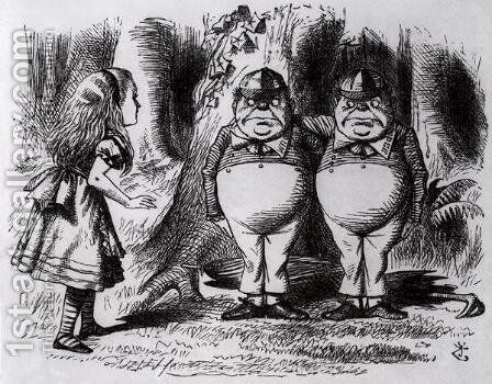 Tweedledum and Tweedledee, illustration from Through the Looking Glass, by Lewis Carroll, 1872 by John Tenniel - Reproduction Oil Painting