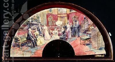 Fan depicting a social gathering after dinner in a drawing room, 1890 by Charles Henry Tenre - Reproduction Oil Painting
