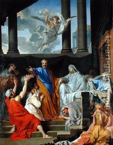 St. Peter Resurrecting the Widow Tabitha, 1652 by Henri Testelin - Reproduction Oil Painting
